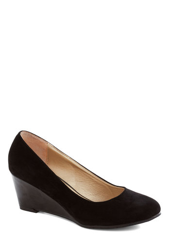 Professional Expertise Wedge in Black - Black, Solid, Work, Good, Wedge, Mid, Minimal, Variation, Basic, Faux Leather