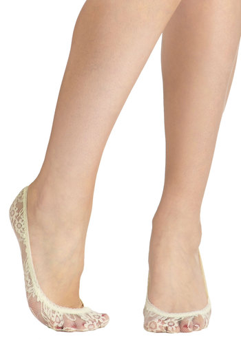 Lined in Lace Socks in Ivory - Cream, Solid, Lace, Good, Variation, Sheer