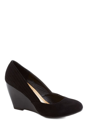 Film Noir Fest Wedge - Black, Solid, Work, Good, Wedge, Mid, Faux Leather, Party, Minimal, Basic