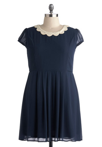 Surprise Me Dress in Navy - Plus Size - Blue, Tan / Cream, Solid, Vintage Inspired, Short Sleeves, Casual, A-line