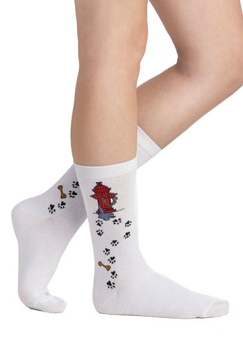 Muddy Buddy Socks - White, Multi, Casual, Good, Red, Black, Novelty Print