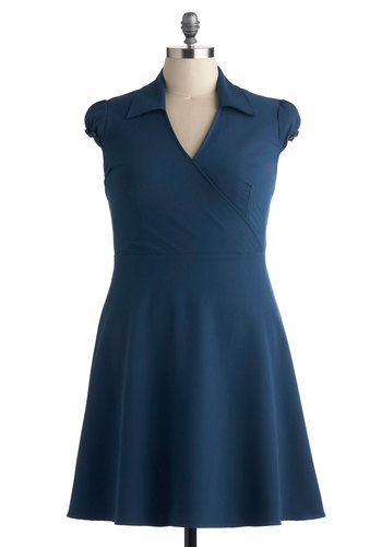 Office We Go Dress in Teal - Plus Size - Blue, Solid, Casual, A-line, Cap Sleeves, Good, Collared, Work, Variation, Knit