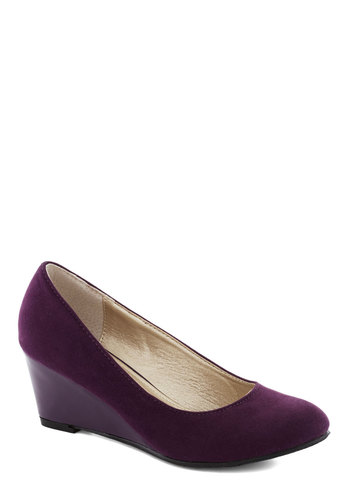 Professional Expertise Wedge in Purple - Purple, Solid, Work, Good, Platform, Wedge, Mid, Variation, Basic, Faux Leather