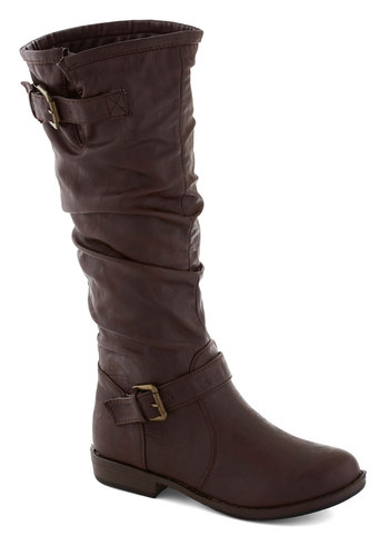 Movie Along Boot - Brown, Solid, Buckles, Ruching, Steampunk, Faux Leather, Low, Good, Fall, Top Rated