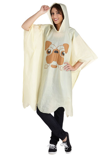 Ruff Weather Poncho - Sheer, Yellow, Print with Animals, Kawaii, Hoodie, Spring, Yellow