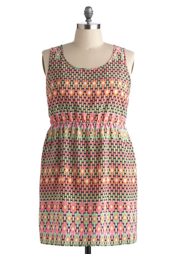 Mosaic Marvel Dress in Plus Size - Multi, Print, Cutout, Party, Sheath / Shift, Tank top (2 thick straps), Good, Scoop, Neon, Summer, Woven