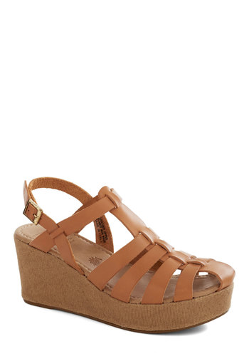 Naturally Phenomenal Wedge by BC Shoes - Tan, Boho, Mid, Better, Platform, Wedge, Leather, Solid, Summer