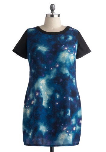 My Moon, My Plan Dress in Plus Size - Blue, Black, Print, Casual, Shift, Short Sleeves, Better, Scoop, Exposed zipper, Exclusives, Woven, Cosmic