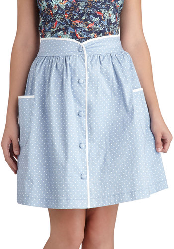Just as I Dot Skirt - Blue, Polka Dots, Buttons, Pockets, Trim, Casual, A-line, Exclusives, Short