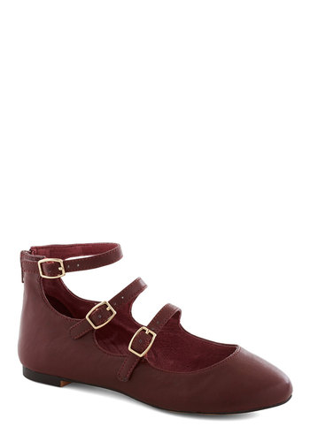 Betsey Johnson Make Your Denmark Flat in Oxblood by Betsey Johnson - Red, Solid, Buckles, Flat, Variation, Faux Leather, Better, Casual, Mary Jane