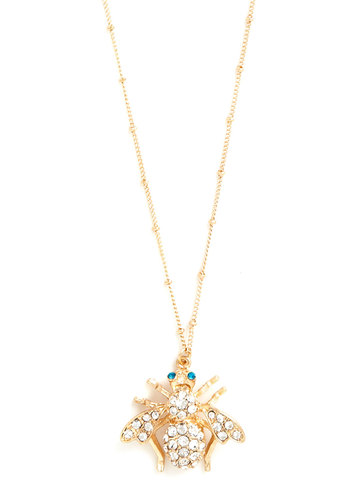 What's All the Buzz? Necklace - Print with Animals, Rhinestones, Gold, White, Gold