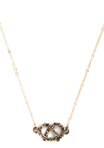 Haute Pretzel Necklace - Gold, Solid, Quirky, Gold