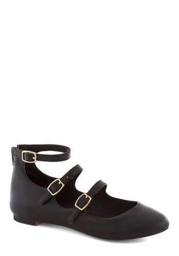 Betsey Johnson Make Your Denmark Flat in Black by Betsey Johnson - Black, Solid, Buckles, Flat, Variation, Faux Leather, Better, Casual, Mary Jane