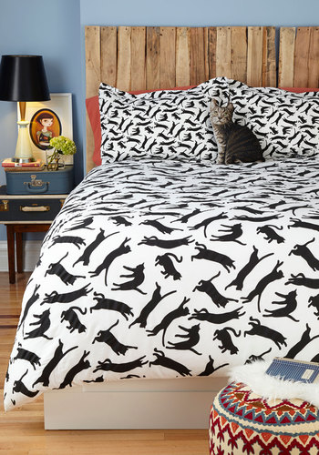 Yours, Mine, and Noir's Duvet Cover in Twin/Twin XL - Multi, Print with Animals, Cats, Black, White, Dorm Decor, Cotton, Exclusives