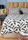 Yours, Mine, and Noir's Duvet Cover in Full/Queen - Multi, Print with Animals, Cats, Black, White, Dorm Decor, Cotton, Exclusives, Best