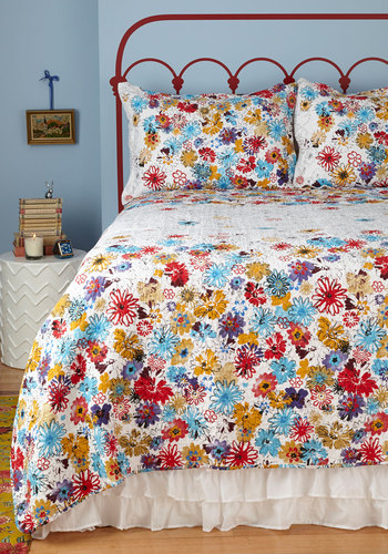 Serenity in Bloom Quilt Set in King - Multi, Floral, White, Dorm Decor, Cotton, Best, Woven