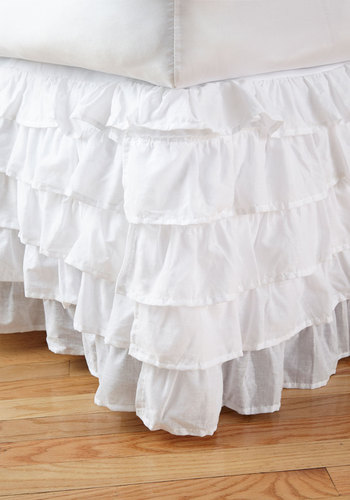 Sleeping Beautiful Bed Skirt in Twin - White, Solid, Ruffles, Fairytale, Cotton, Better, Woven