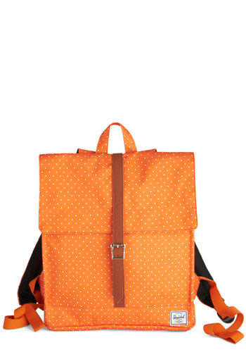 Apricot You Smiling Backpack by Herschel Supply Co. - Orange, Tan / Cream, Polka Dots, Buckles, Casual, Travel, Halloween