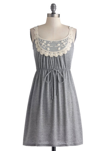 Rainy Day Darling Dress - Grey, White, Lace, Scallops, A-line, Empire, Tank top (2 thick straps), Casual, Summer, Short, Beads, Pearls, Exclusives, Sundress, Cover-up
