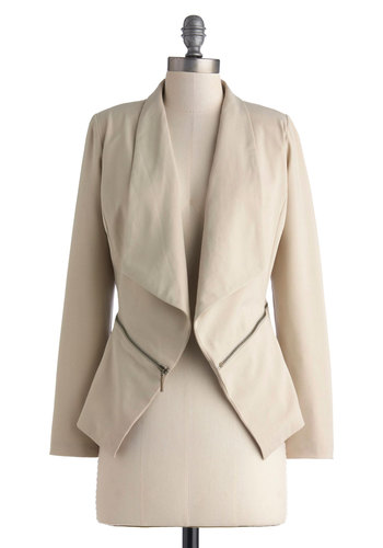 Beauty in Promotion Blazer - Short, Tan, Solid, Work, Long Sleeve, Exposed zipper, Daytime Party