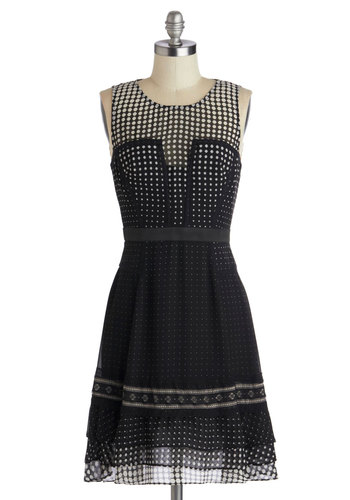 Betsey Johnson Find Your Flair Dress by Betsey Johnson - Mid-length, Black, White, Polka Dots, Party, A-line, Sleeveless, Best, Scoop, Tiered, Wedding, Cocktail, Sheer, Woven