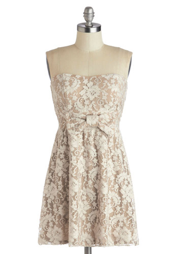 Stop and Say Chai Dress - Short, Tan, Tan / Cream, Bows, Lace, Party, A-line, Strapless, Good, Sweetheart, Mini, Knit