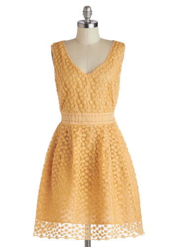 Early Morning Moments Dress by Nick & Mo - Knit, Mid-length, Yellow, Solid, Party, A-line, Sleeveless, Better, V Neck, Floral, Embroidery, Daytime Party, Bridesmaid, Vintage Inspired, Wedding, Graduation