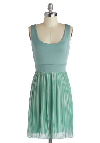 It's About That Thyme Dress - Short, Woven, Mint, Casual, A-line, Tank top (2 thick straps), Good, Scoop, Solid, Pleats, Cotton, Pastel