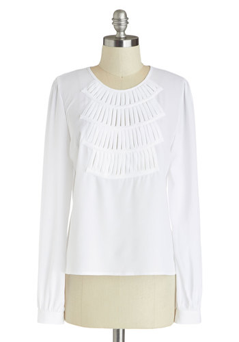 Dog Walk the Walk Top - White, Solid, Daytime Party, Long Sleeve, Chiffon, Sheer, Mid-length, Woven, White, Long Sleeve