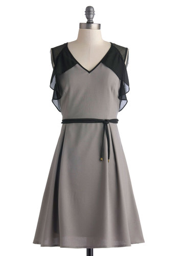 Graphite for Your Right Dress - Mid-length, Grey, Black, Ruffles, Belted, Party, A-line, Sleeveless, Better, V Neck, Solid, Work, Sheer, Woven