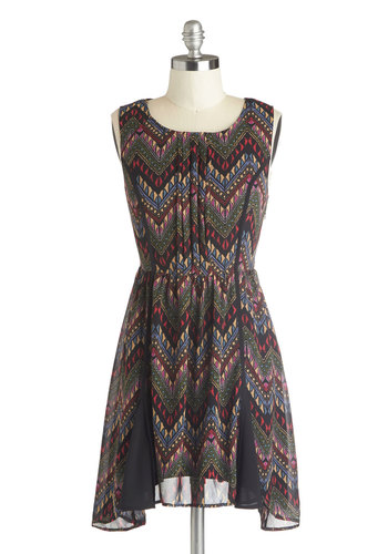 Patio Perfection Dress - Short, Multi, Chevron, Pleats, A-line, Sleeveless, Better, Scoop, Handkerchief, Gifts Sale, Chiffon, Woven, Casual
