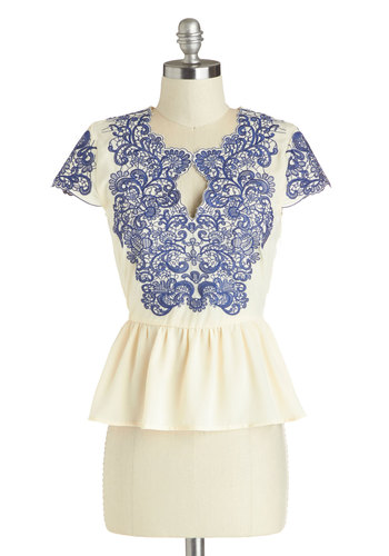 Graceful Sophistication Top - Cream, Blue, Embroidery, Peplum, Cap Sleeves, Mid-length, Chiffon, Sheer, Work, Daytime Party, Woven, White, Short Sleeve