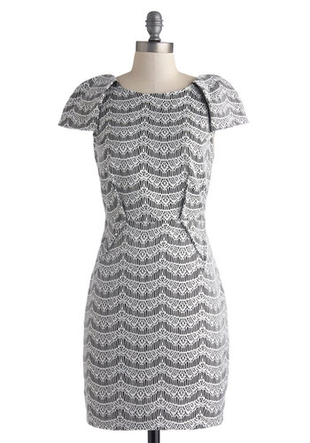 Stage Right-On Dress - Mid-length, Woven, Black, White, Lace, Party, Sheath / Shift, Good, Print, Cocktail, Girls Night Out, Cap Sleeves