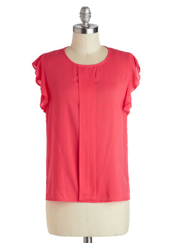 Awaited Arrival Top - Woven, Mid-length, Pink, Solid, Casual, Cap Sleeves, Scoop, Gifts Sale, Pink, Sleeveless
