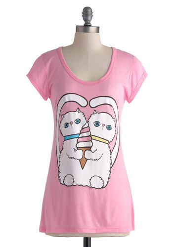 Takes Two to Twist Top - Jersey, Knit, Mid-length, Pink, Multi, Print with Animals, Casual, Cats, Short Sleeves, Pink, Short Sleeve