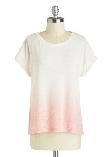 Sidewalk Shading Top - Mid-length, Jersey, Woven, Boho, White, Pink, Ombre, Casual, White, Short Sleeve