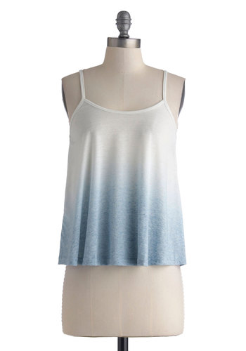 Singing in the Drizzle Top - Mid-length, Blue, Ombre, Casual, Spaghetti Straps, White, Beach/Resort, Summer, Jersey, Knit, Scoop, Boho