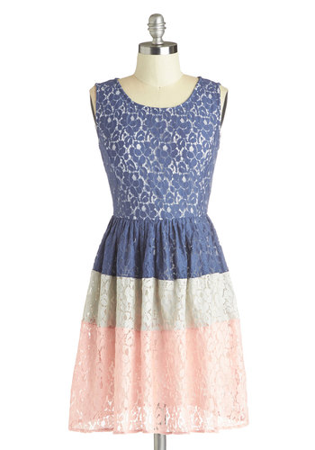 Layer Cake Decorator Dress - Mid-length, Blue, Pink, White, Lace, Party, A-line, Sleeveless, Better, Scoop, Exposed zipper, Daytime Party, Fairytale, Colorblocking, Sheer, Knit