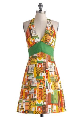Cosmopolitan Cuisine Apron - Cotton, Woven, Multi, Yellow, Green, White, Novelty Print, Pockets, Better