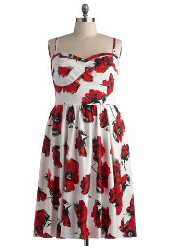 Rose to Show Dress in Plus Size by Stop Staring! - Long, Red, Floral, Daytime Party, A-line, Spaghetti Straps, Best, Sweetheart, White, Wedding, Party, Pinup, Vintage Inspired, 50s, Spring, Summer, Variation, Knit