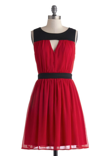 Barcelona Balcony Dress - Mid-length, Red, Black, Cutout, Party, A-line, Sleeveless, Good, Scoop, Solid, Cocktail, Holiday Party, Valentine's, Knit, Woven