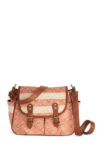 Exploring the Floral Reef Satchel - Pink, Brown, Multi, Floral, Buckles, Crochet, Trim, Faux Leather, Tan / Cream, Casual