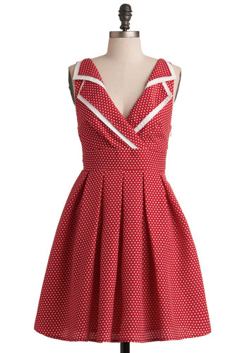Esme and the Laneway Dress - Red, White, Polka Dots, Pleats, A-line, Mid-length, Trim, Party, Sleeveless, Summer, Pinup, Vintage Inspired, Work, Collared, Fit & Flare, V Neck