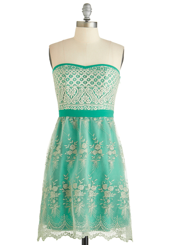 Scene Stealing Sweetie Dress - Short, Green, Tan / Cream, Embroidery, Lace, Party, Empire, Strapless, Better, Sweetheart, Exclusives, Woven