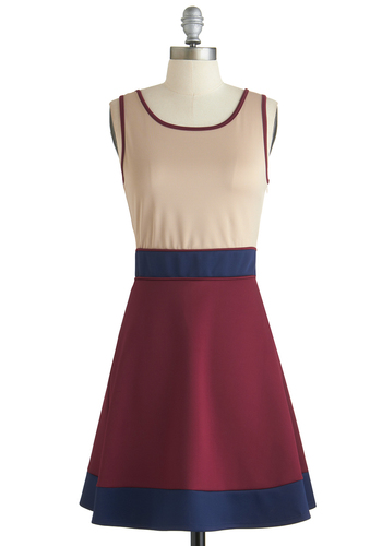 Chance of Colorblocks Dress - Red, Blue, Tan / Cream, Casual, A-line, Tank top (2 thick straps), Good, Scoop, Short, Basic, Colorblocking, Fall, Work