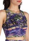 Meadow Meandering Top - Short, Multi, Yellow, Green, Purple, Floral, Cropped, Sleeveless, Black, Print, Cutout, Party, Casual, Girls Night Out, Summer, Crew, Purple