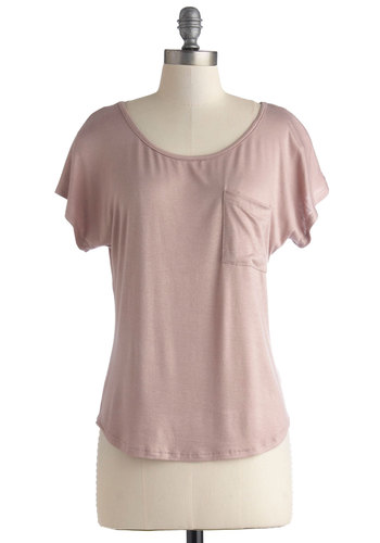 Handprint in the Sand Top - Jersey, Knit, Mid-length, Pink, Solid, Pockets, Casual, Short Sleeves, Basic, Pink, Short Sleeve