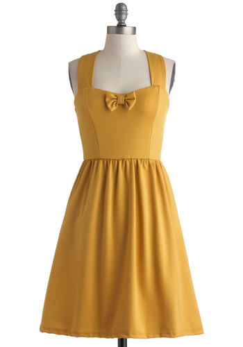 Mellow in Marigold Dress - Knit, Mid-length, Yellow, Solid, Bows, Pockets, A-line, Racerback, Better, Sweetheart, Vintage Inspired, Casual