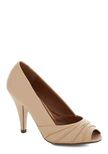 Dune a Little Dance Heel - Tan, Solid, Pleats, Wedding, Bridesmaid, Bride, Good, Peep Toe, High, Party, Work, Cocktail, Faux Leather