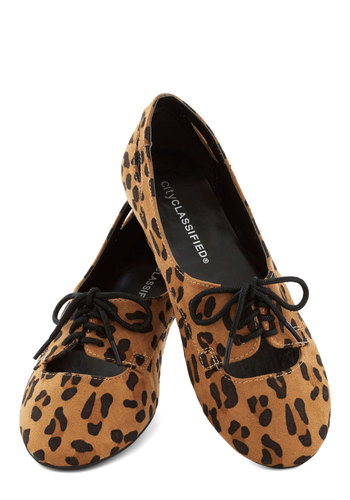 Frequent Fun Flat in Leopard - Tan, Black, Animal Print, Cutout, Menswear Inspired, Flat, Good, Lace Up, Faux Leather, Casual, Safari, Variation